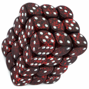 Red & Black 'Silver Volcano' Speckled 12mm D6 Dice Block